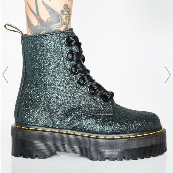 Dr Martens Green Glitter Molly Boots
